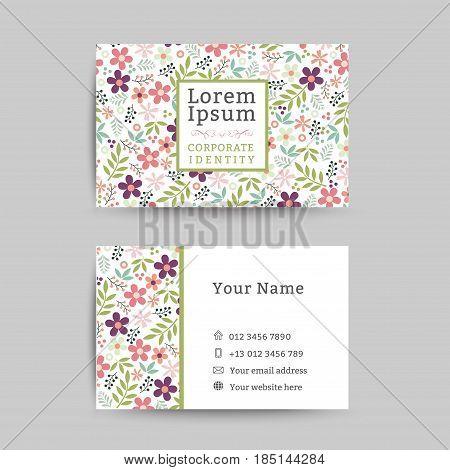 Floral business name card design template, floral pattern background