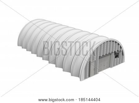 Hangar Building isolated on white background. 3D render