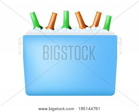 cooler with bottle and ice vector on white background