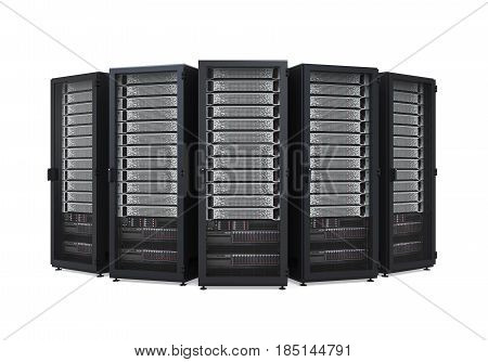 Computer Network Server isolated on white background. 3D render