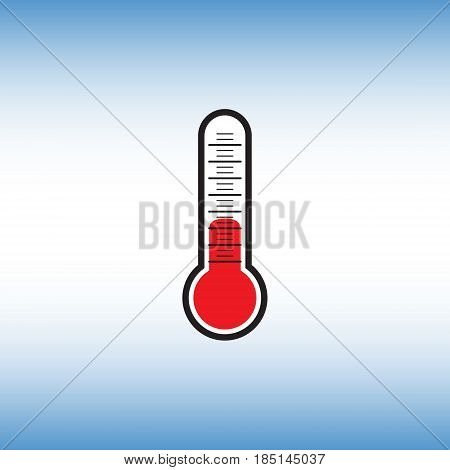 Thermometer vector flat icon. Thermometer vector sign isolated at blue background. Temperature measurement vector illustration.