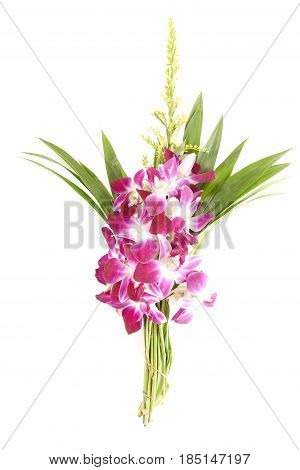 Bunch of local thai orchid flowers with pandan leaves for Buddhist Holy Day on white background