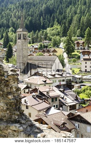 view of Ossana a small traditional village in Val di Sole ( sun valley) on italian alps Italy.