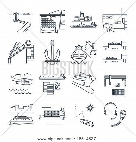 set of thin line icons water transport and sea port merchant shipping tanker freighter