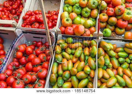 Tomatoes for sale at a market in Palermo