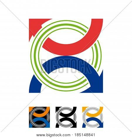 Vector abstract sign air conditioning, isolated illustration on white