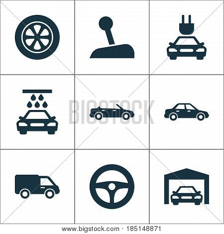 Auto Icons Set. Collection Of Transport Cleaning, Repairing, Truck And Other Elements. Also Includes Symbols Such As Plug, Auto, Repairing.