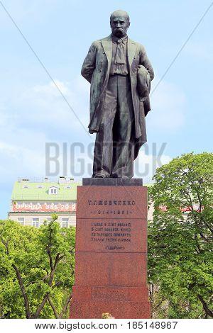 KIEV, UKRAINE - MAY 2, 2011: It is a monument to the famous Ukrainian poet writer and painter Taras Shevchenko.