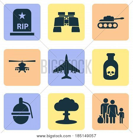 Army Icons Set. Collection Of Danger, Fugitive, Chopper And Other Elements. Also Includes Symbols Such As Bombshell, Bomber, Grave.