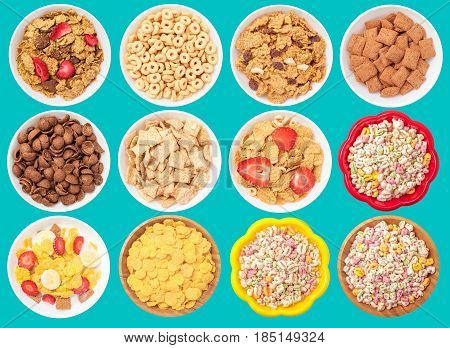 Collection of different cereal bowls isolated on blue background.