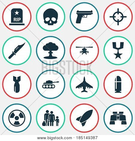 Warfare Icons Set. Collection Of Fugitive, Aircraft, Order And Other Elements. Also Includes Symbols Such As Scalper, Cutter, Order.
