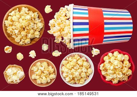 Popcorn Isolated on Red Background. Contain popcorn single inside bowls and box.
