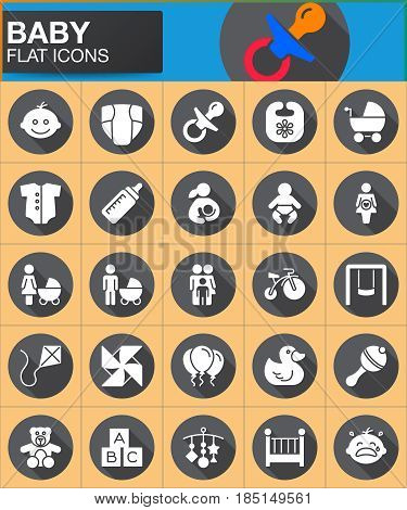 Baby children flat icons set. Round symbol collection circular vector sign pack with long shadow effect. Flat style design. Set includes icons as baby face pacifier nappy family father mother