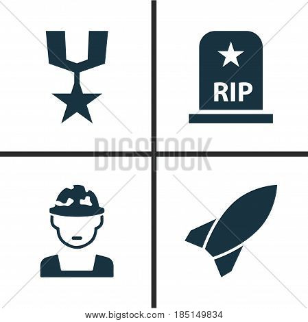 Warfare Icons Set. Collection Of Missile, Rip, Military And Other Elements. Also Includes Symbols Such As Missile, Oficer, Bomb.