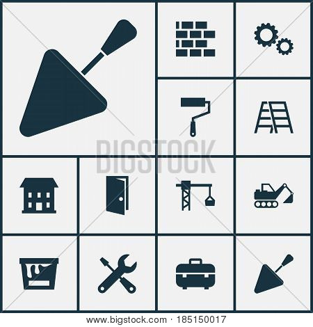 Industry Icons Set. Collection Of Lifting Hook, Stair, Home And Other Elements. Also Includes Symbols Such As Mechanism, Door, Service.