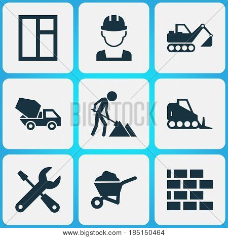 Construction Icons Set. Collection Of Engineer, Glass Frame, Carry Cart And Other Elements. Also Includes Symbols Such As Vehicle, Glass, Builder.