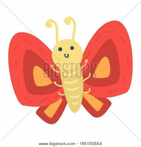 Colorful butterfly with abstract decorative pattern vector. Graphic summer free fly present silhouette. Beauty nature spring insect decoration.