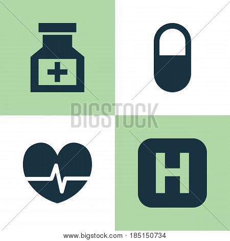 Medicine Icons Set. Collection Of Hospital, Pellet, Rhythm And Other Elements. Also Includes Symbols Such As Pellet, Medical, Capsule.