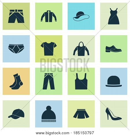 Dress Icons Set. Collection Of Half-Hose, Elegance, Briefs And Other Elements. Also Includes Symbols Such As Ski, Elegant, Briefs.