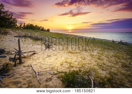 Sunset on the beach of Lake Superior in Whitefish Point, Michigan, Upper Peninsula