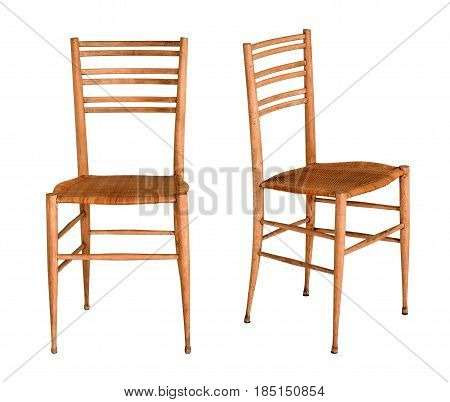 Two Simple Wooden Fruitwood Kitchen Chairs