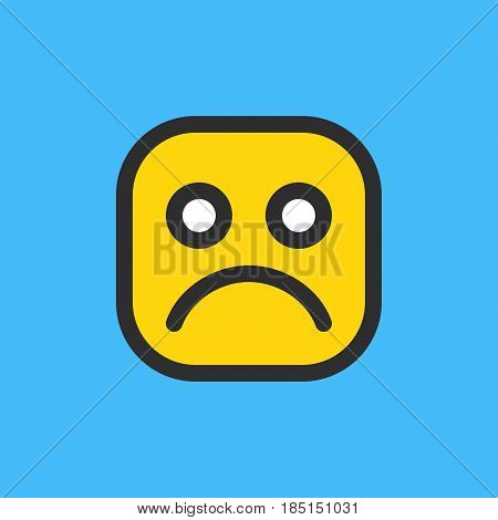 Frowning sad face emoji. Filled outline icon colorful vector emoticon