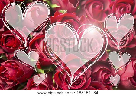 Rose bouquet and love you message in heart light hearts card valentine textspace copyspace
