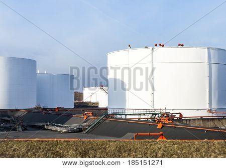 White Tanks In Tank Farm