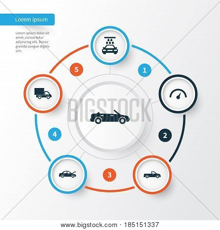 Automobile Icons Set. Collection Of Fixing, Transport Cleaning, Carriage And Other Elements. Also Includes Symbols Such As Auto, Hood, Truck.