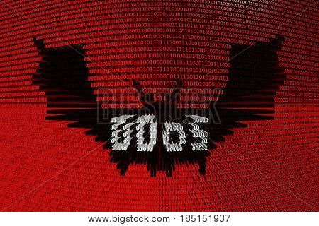 DDoS bat in the form of binary code, 3D illustration