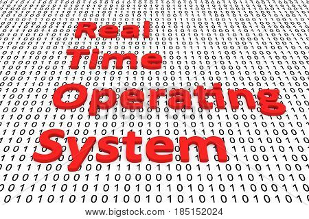Real-time operating system in binary code, 3D illustration