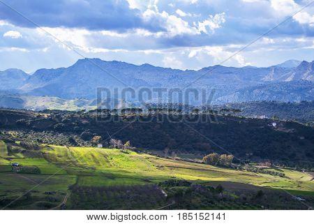 Panoramic View Of Rural Surroundings Of Ronda Town, Andalusia, Spain.