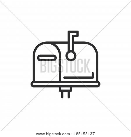 Mailbox closed flag up outline icon line vector sign linear style pictogram isolated on white. Symbol logo illustration. Editable stroke. Pixel perfect