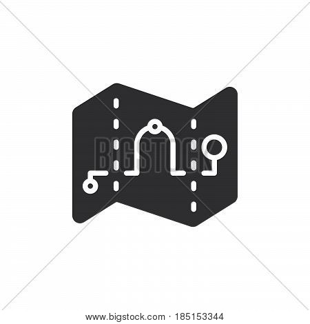 Map waypoints icon vector filled flat sign glyph style pictogram isolated on white. Route symbol logo illustration. Pixel perfect