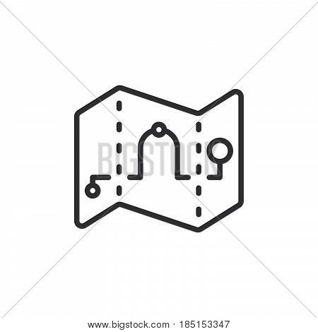 Map waypoints outline icon line vector sign linear style pictogram isolated on white. Route symbol logo illustration. Editable stroke. Pixel perfect