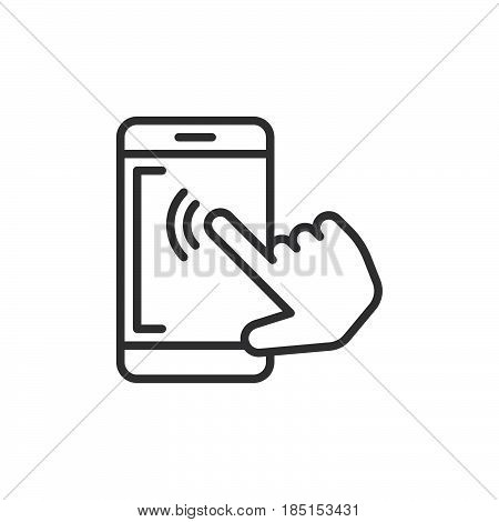 Smartphone touchscreen tap outline icon line vector sign linear style pictogram isolated on white. Symbol logo illustration. Editable stroke. Pixel perfect