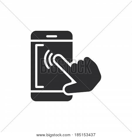 Smartphone touchscreen tap icon vector filled flat sign glyph style pictogram isolated on white. Symbol logo illustration. Pixel perfect