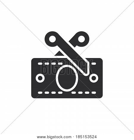 Tax scissors and money banknote icon vector filled flat sign glyph style pictogram isolated on white. Symbol logo illustration. Pixel perfect