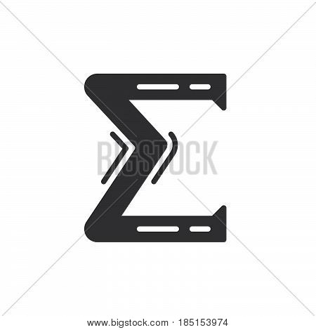 Greek letter sigma icon vector filled flat sign glyph style pictogram isolated on white. Symbol logo illustration. Pixel perfect