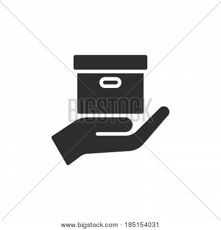 Hand holding parcel Delivery service icon vector filled flat sign glyph style pictogram isolated on white. Symbol logo illustration. Pixel perfect