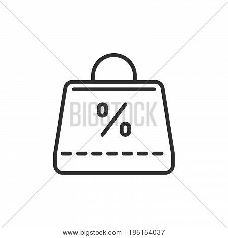 Shopping bag with percent sign outline icon line vector sign linear style pictogram isolated on white. Sale symbol logo illustration. Editable stroke. Pixel perfect