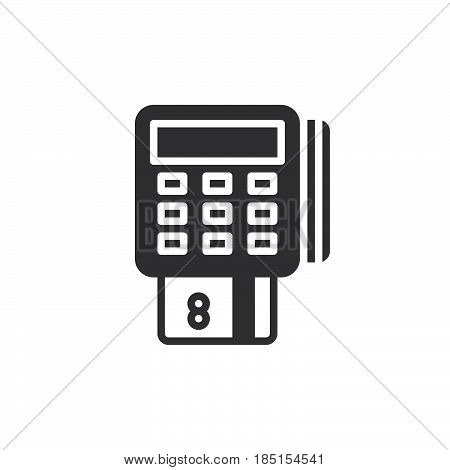 Pos terminal icon vector filled flat sign glyph style pictogram isolated on white. Symbol logo illustration. Pixel perfect