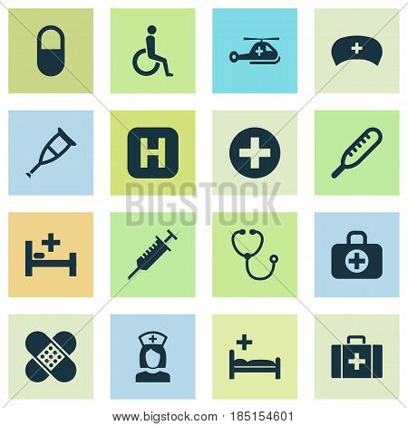 Drug Icons Set. Collection Of Tent, Peck, Nanny And Other Elements. Also Includes Symbols Such As Aid, Peck, Device.