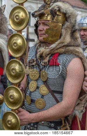 ALBA IULIA ROMANIA - APRIL 30 2017: Roman soldier in battle costume present at APULUM ROMAN FESTIVAL organized by the City Hall.