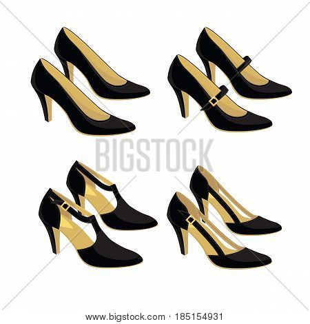 Vector illustration of different models of classic shoes on white background