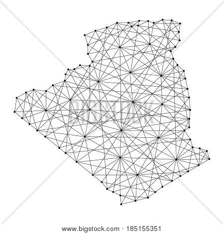 Map of Algeria from polygonal black lines and dots of vector illustration