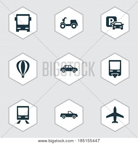 Transport Icons Set. Collection Of Automobile, Airship, Railroad And Other Elements. Also Includes Symbols Such As Railway, Omnibus, Train.