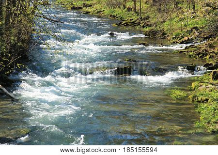 river with clean fresh water in spring, Beskydy mountains, Czech Republic