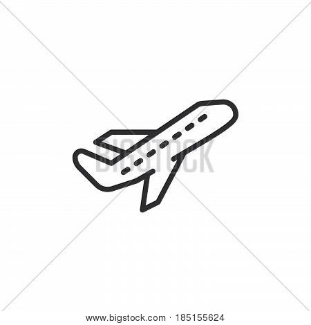 Airplane take off line icon outline vector sign linear style pictogram isolated on white. Departure symbol logo illustration. Editable stroke