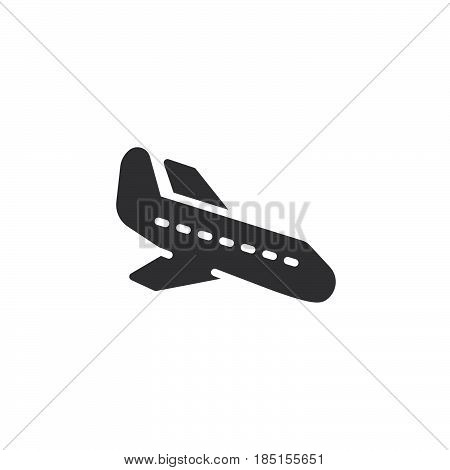 Plane landing icon vector filled flat sign solid pictogram isolated on white. Arrival symbol logo illustration